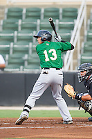 L.J. Mazzilli (13) of the Savannah Sand Gnats at bat against the Kannapolis Intimidators at CMC-Northeast Stadium on June 9, 2014 in Kannapolis, North Carolina.  The Intimidators defeated the Sand Gnats 4-2.  (Brian Westerholt/Four Seam Images)