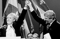 FILE PHOTO : Pauline Marois lors de la Victoire de Pierre-Marc Johnson lors du vote final de la course ‡ la chefferie du Parti QuÈbÈcois, le 29 septembre 1985<br /> <br /> PHOTO : Denis Alix -  Agence Quebec Presse