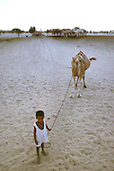 A young boy born into slavery works to retrieve water from a well with a camel in Boutlimit, Mauritania  - Child labor as seen around the world between 1979 and 1980 - Photographer Jean Pierre Laffont, touched by the suffering of child workers, chronicled their plight in 12 countries over the course of one year.  Laffont was awarded The World Press Award and Madeline Ross Award among many others for his work.