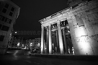 """Pantheon, Piazza della Rotonda. <br /> <br /> Rome, 23/10/2020. Documenting the """"curfew"""" (coprifuoco) imposed from Friday night in Rome and its surrounding Lazio Region. The local authorities tightened rules and restrictions due to a spike in the Covid-19 / Coronavirus cases. 23 October bulletins sees 19.143 new cases, 91 people died, 182.032 tests made. Today, the President of Lazio Region, Nicola Zingaretti (Leader of the Democratic Party, PD, party member of the Italian Coalition Government), imposed the night curfew, from midnight to 5AM, for 30 days (1.). A new self-certification (autocertificazione, downloadable from here 1.) is needed to leave home which is allowed only for urgent reasons, mainly work and health. Furthermore, the Mayor of Rome, Virginia Raggi, implemented """"no-go zones"""" restrictions from 9PM in some of the areas and squares of the Eternal City famous for the nightlife, including Campo de' Fiori, Via del Pigneto, Piazza Trilussa in Trastevere district and Piazza Madonna de' Monti.<br /> <br /> Footnotes & Links:<br /> 1. http://www.regione.lazio.it/binary/rl_main/tbl_news/ordinanza_regione_lazio_intesa_Ministro_salute__mod_accettate_rev1__ore_24_1_signed.pdf<br /> <br /> March 2020, Coronavirus lockdown in Rome:<br /> - 12.03.2020 - Rome's Lockdown for the Outbreak of the Coronavirus In Italy - SARS-CoV-2 - COVID-19: https://lucaneve.photoshelter.com/gallery/12-03-2020-Romes-Lockdown-for-the-Outbreak-of-the-Coronavirus-In-Italy-SARS-CoV-2-COVID-19/G0000jGtenBegsts/<br /> - 07-23.03.2020 - Villaggio Olimpico Ai Tempi del COVID-19 - Rome's Olympic Village Under Lockdown: https://lucaneve.photoshelter.com/gallery/07-23-03-2020-Villaggio-Olimpico-Ai-Tempi-del-COVID-19-Romes-Olympic-Village-Under-Lockdown/G0000D2L9l0ibXZI/"""