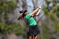 WALLACE, NC - MARCH 09: Beem Pabsimma of USC Upstate tees off on the 14th hole of the River Course at River Landing Country Club on March 09, 2020 in Wallace, North Carolina.