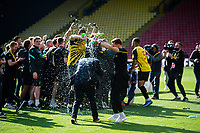 24th April 2021; Vicarage Road, Watford, Hertfordshire, England; English Football League Championship Football, Watford versus Millwall; Watford players celebrate promotion to the Premier League.