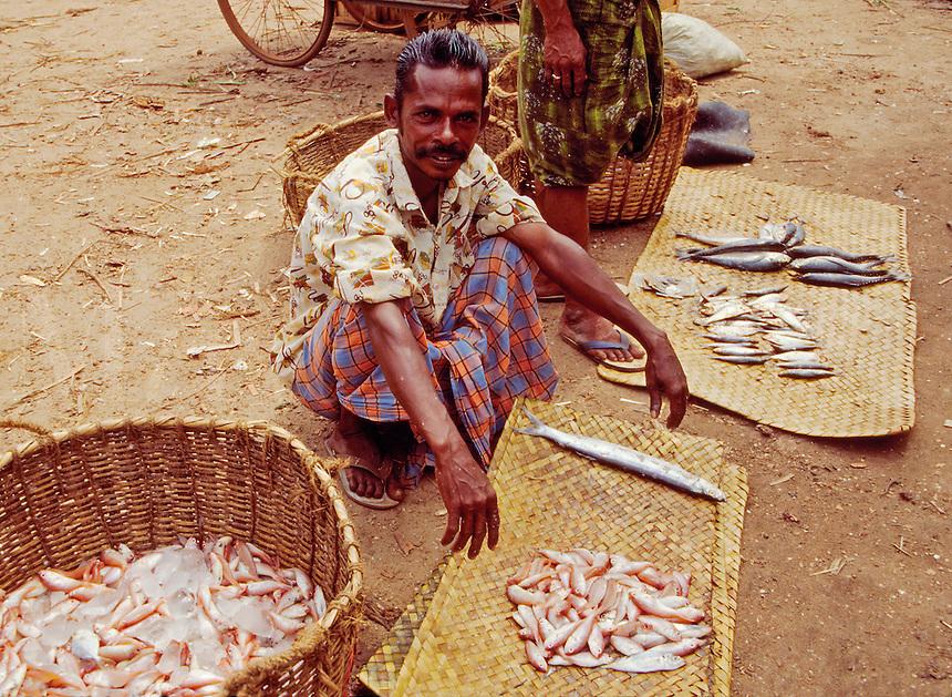Fish vendor in the market area of the Valicau village town is also called Valicaru Village, Kerala state, India