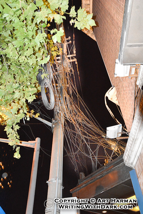 """""""Safe wiring"""" (Not). By Art Harman, This tangle of 440 or higher volt wires were almost low enough to touch."""