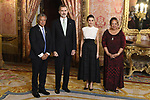King Felipe VI of Spain (2L) and Queen Letizia of Spain (2R) receive Cook Islands Prime Minister Henry Puna (L) and wife Akaiti Puna (R) because of the United Nations conference for the Climate Summit 2019 (COP25) at the Royal Palace. December 2,2019. (ALTERPHOTOS/Pool/Carlos Alvarez)