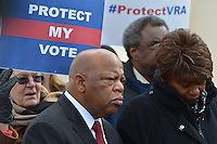 February 27, 2013  (Washington, DC)  Congressman John Lewis listens during a voting rights rally in front of the U.S. Supreme Court. The Court heard arguments regarding the constitutionality of Section 5 of the Voting Rights Act.   (Photo by Don Baxter/Media Images International)