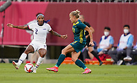 KASHIMA, JAPAN - JULY 27: Crystal Dunn #2 of the United States moves with the ball during a game between Australia and USWNT at Ibaraki Kashima Stadium on July 27, 2021 in Kashima, Japan.