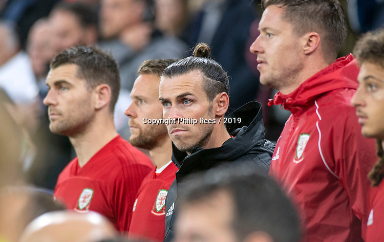 Cardiff - UK - 9th September :<br />Wales v Belarus Friendly match at Cardiff City Stadium.<br />Gareth Bale of Wales on the substitute bench ahead of kick off.<br />Editorial use only