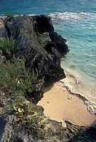 Bermuda, beach, Hidden Beach, Warwick Parish, Rocky coastline of Hidden Beach on the bay in Warwick Parish in Bermuda.