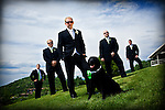Groomsmen and dog formals on the lawn at Bellavista Steamboat.