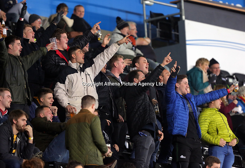 Ospreys supporters during the Anglo-Welsh Cup match between Ospreys and Wasps at The Liberty Stadium, Swansea, Wales, UK. Friday 10 November 2017