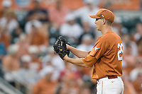 Texas Longhorns pitcher Corey Knebel #29 looks in for a sign against the Texas A&M Aggies in NCAA Big XII Conference baseball on May 21, 2011 at Disch Falk Field in Austin, Texas. (Photo by Andrew Woolley / Four Seam Images)