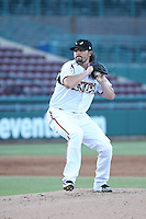Trevor Seidenberger (28) of the Lake Elsinore Storm pitches against the High Desert Mavericks at The Diamond on April 27, 2016 in Lake Elsinore, California. High Desert defeated Lake Elsinore, 10-2. (Larry Goren/Four Seam Images)