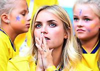 SAMARA - RUSIA, 07-07-2018: Hinchas de Suecia durante partido de cuartos de final entre Suecia y Inglaterra por la Copa Mundial de la FIFA Rusia 2018 jugado en el estadio Samara Arena en Samara, Rusia. / Fans of Sweden during the match between Sweden and England of quarter final for the FIFA World Cup Russia 2018 played at Samara Arena stadium in Samara, Russia. Photo: VizzorImage / Julian Medina / Cont