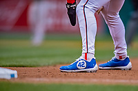 15 April 2018: Washington Nationals outfielder Bryce Harper takes a lead off first, sporting commemorative cleats in the 7th inning against the Colorado Rockies at Nationals Park in Washington, DC. All MLB players wore Number 42 to commemorate the life of Jackie Robinson and to celebrate Black Heritage Day in pro baseball. The Rockies edged out the Nationals 6-5 to take the final game of their 4-game series. Mandatory Credit: Ed Wolfstein Photo *** RAW (NEF) Image File Available ***