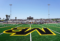 Mission Bay High School, San Diego CA, USA. Thursday, April 16th 2015:  Students, faculty, staff, families and community leaders attend the opening of the Mission Bay High School Stadium.  Over 1400 gathered to watch the ribbon cutting at the brand new facility on Thursday afternoon.