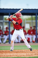 GCL Nationals second baseman Tyler Beckwith (7) at bat during a game against the GCL Astros on August 14, 2016 at the Carl Barger Baseball Complex in Viera, Florida.  GCL Nationals defeated GCL Astros 8-6.  (Mike Janes/Four Seam Images)