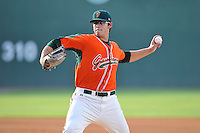 Starting pitcher Justin Jacome (55) of the Greensboro Grasshoppers delivers a pitch in a game against the Greenville Drive on Thursday, July 14, 2016, at Fluor Field at the West End in Greenville, South Carolina. (Tom Priddy/Four Seam Images)
