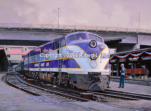 """Atlantic Coast Line railroad passenger train """"Silver Comet"""" at the Atlanta Terminal Station tation ready for travel on a national holiday, the Fourth of July. Oil on canvas, 18 x 24.5."""