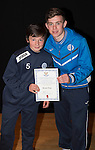 St Johnstone FC Academy Awards Night...06.04.15  Perth Concert Hall<br /> Craig Thomson presents a certificate to Struan Ross<br /> Picture by Graeme Hart.<br /> Copyright Perthshire Picture Agency<br /> Tel: 01738 623350  Mobile: 07990 594431