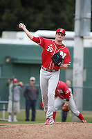Reece Eddins (30) of the Nebraska Cornhuskers pitches against the Long Beach State Dirtbags in the first game of a doubleheader at Blair Field on March 5, 2016 in Long Beach, California. Long Beach State defeated Nebraska, 1-0. (Larry Goren/Four Seam Images)