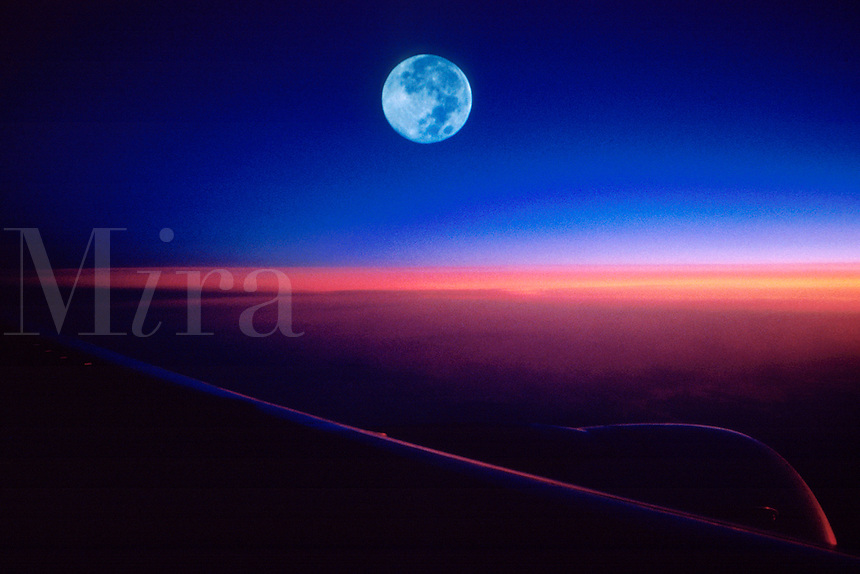"""JP0004 """"Window Seat #1 - Airplane Wing at Sunrise with Full Moon"""""""