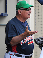 17 March 2009: Manager Bobby Cox of the Atlanta Braves in a game against the New York Mets at the Braves' Spring Training camp at Disney's Wide World of Sports in Lake Buena Vista, Fla. Photo by:  Tom Priddy/Four Seam Images
