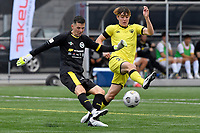 Danyon Drake of Eastern Suburbs competes for the ball with Jonty Roubos of the Wellington Phoenix during the ISPS Handa Men's Premiership - Wellington Phoenix v Eastern Suburbs at Fraser Park, Wellington on Saturday 28 November 2020.<br /> Copyright photo: Masanori Udagawa /  www.photosport.nz