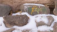 Inscriptions on stone at the Hemis Monastery.