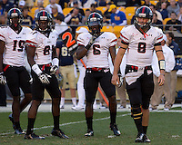 Gardner-Webb wide receivers Kenny Cook (19) and Carlton Heard (81), running back Kenny Little (6) and quarterback Lucas Beatty (8) look for signals. The Pitt Panthers defeated the Gardner-Webb Runnin Bulldogs 55-10 at Heinz Field, Pittsburgh PA on September 22, 2012..