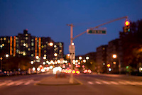THIS IMAGE IS AVAILABLE EXCLUSIVELY FROM CORBIS<br /> <br /> PLEASE SEARCH FOR IMAGE # 42-19641400 ON WWW.CORBIS.COM<br /> <br /> Queens Boulevard - Urban Street Scene at Dusk with Red Traffic Light, Queens, New York City, New York State, USA.