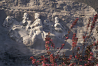 "AJ3952, Stone Mountain, Atlanta, Stone Mountain Park, carving, Georgia, The Confederate Memorial Carving of President Jefferson Davis, General Thomas """"Stonewall"""" Jackson and Robert E. Lee on Stone Mountain through Dogwood blossoms in the spring in Georgia's Stone Mt. Park near Atlanta in the state of Georgia."
