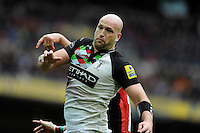 Olly Kohn of Harlequins wins the lineout ball during the Aviva Premiership match between Saracens and Harlequins at Wembley Stadium on Saturday 31st March 2012 (Photo by Rob Munro)