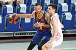 Real Madrid Baloncesto's Carlos Alocen (r) and FC Barcelona's Adam Hanga during Liga Endesa ACB 1st Final match. June 13,2021. (ALTERPHOTOS/Acero)