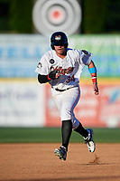 Tri-City ValleyCats left fielder Seth Beer (34) runs the bases during a game against the Vermont Lake Monsters on June 16, 2018 at Joseph L. Bruno Stadium in Troy, New York.  Vermont defeated Tri-City 6-2.  (Mike Janes/Four Seam Images)