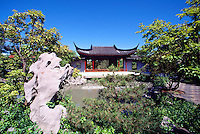 Dr. Sun Yat-Sen Classical Chinese Garden in Chinatown, Vancouver, BC, British Columbia, Canada - Chinese Pagoda in Summer