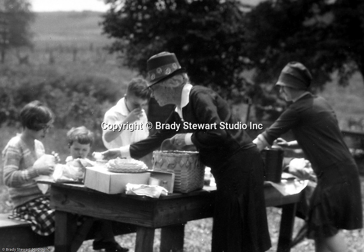 East Brady PA:  Stewart family; Alice Brady Stewart, Sarah, Helen, Brady Jr. and Sally Stewart stopping for lunch near Meadville PA.  After lunch traveling up to Lake Erie for a family vacation.