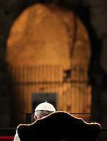 Papa Francesco celebra la Via Crucis al Colosseo, Roma, 3 aprile 2015.<br /> Pope Francis attends the Via Crucis (Way of the Cross) torchlight procession, at the Colosseum, Rome, 3 April 2015.<br /> UPDATE IMAGES PRESS/Riccardo De Luca<br /> <br /> STRICTLY ONLY FOR EDITORIAL USE