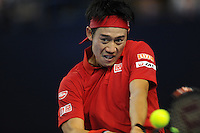 Kei Nishikori (JAP), MARCH 06, 2016 - Tennis : Kei Nishikori (JAP) serves during the Davis Cup by PNB Paribas , World Group first round fourth rubber between Great Britain and Japan at The Barclaycard Arena, Birmingham, United Kingdom. (Photo by Rob Munro/AFLO)