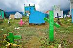 Crosses in a cemetery in Nabaj, Western Highlands, Guatemala