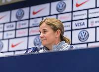 CHICAGO, IL - OCTOBER 5: Jill Ellis of the United States speaks during a press conference at Soldier Field on October 5, 2019 in Chicago, Illinois.