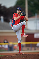 Williamsport Crosscutters starting pitcher Kyle Young (44) delivers a pitch during a game against the Batavia Muckdogs on August 19, 2017 at Dwyer Stadium in Batavia, New York.  Batavia defeated Williamsport 11-1 in five innings due to rain.  (Mike Janes/Four Seam Images)
