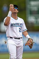 West Michigan Whitecaps first baseman Jordan Pearce (21) warms up before the game against the Bowling Green Hot Rods on May 21, 2019 at Fifth Third Ballpark in Grand Rapids, Michigan. The Whitecaps defeated the Hot Rods 4-3.  (Andrew Woolley/Four Seam Images)