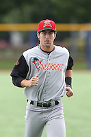 Ronnie Jebavy (36) of the Salem-Keizer Volcanoes before a game against the Hillsboro Hops at Ron Tonkin Field on July 26, 2015 in Hillsboro, Oregon. Hillsboro defeated Salem-Keizer, 4-3. (Larry Goren/Four Seam Images)