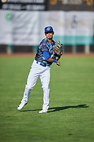 Moises Perez (10) of the Ogden Raptors before the game against the Grand Junction Rockies at Lindquist Field on June 14, 2019 in Ogden, Utah. The Raptors defeated the Rockies 12-0. (Stephen Smith/Four Seam Images)