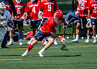 1 May 2021: Stony Brook University Seawolves Defender Devin O'Leary, a Senior from Queensbury, NY, in action against the University of Vermont Catamounts at Virtue Field in Burlington, Vermont. The Cats edged out the Seawolves 14-13 with less than one second to play in their America East Men's Lacrosse matchup. Mandatory Credit: Ed Wolfstein Photo *** RAW (NEF) Image File Available ***