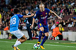 Andres Iniesta Lujan (r) of FC Barcelona battles for the ball with Roberto Jose Rosales Altuve of Malaga CF during the La Liga 2017-18 match between FC Barcelona and Malaga CF at Camp Nou on 21 October 2017 in Barcelona, Spain. Photo by Vicens Gimenez / Power Sport Images