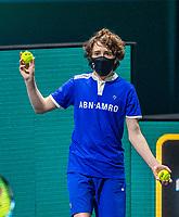 Rotterdam, The Netherlands, 27 Februari 2021, ABNAMRO World Tennis Tournament, Ahoy, Qualyfying match: Ballboy with mask<br /> Photo: www.tennisimages.com/henkkoster
