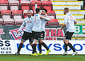 Pars' Faissal El Bakhtaoui (17) celebrates with Michael Moffat (10), Alex Whittle (3) and Ryan Thomson (11) after he scores their winning goal.