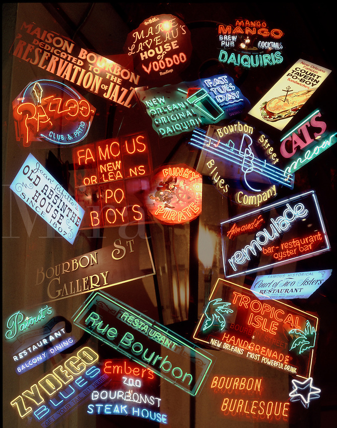 New Orleans, Louisiana.Montage of lights and signs of famous and familiar places in the French Quarter seen at night.